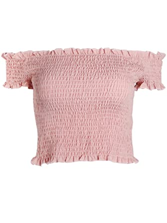 d56c1a3a777 Simplee Apparel Women's Short Sleeve Knitted Off Shoulder Crop Top Blouse  Pink Size 8