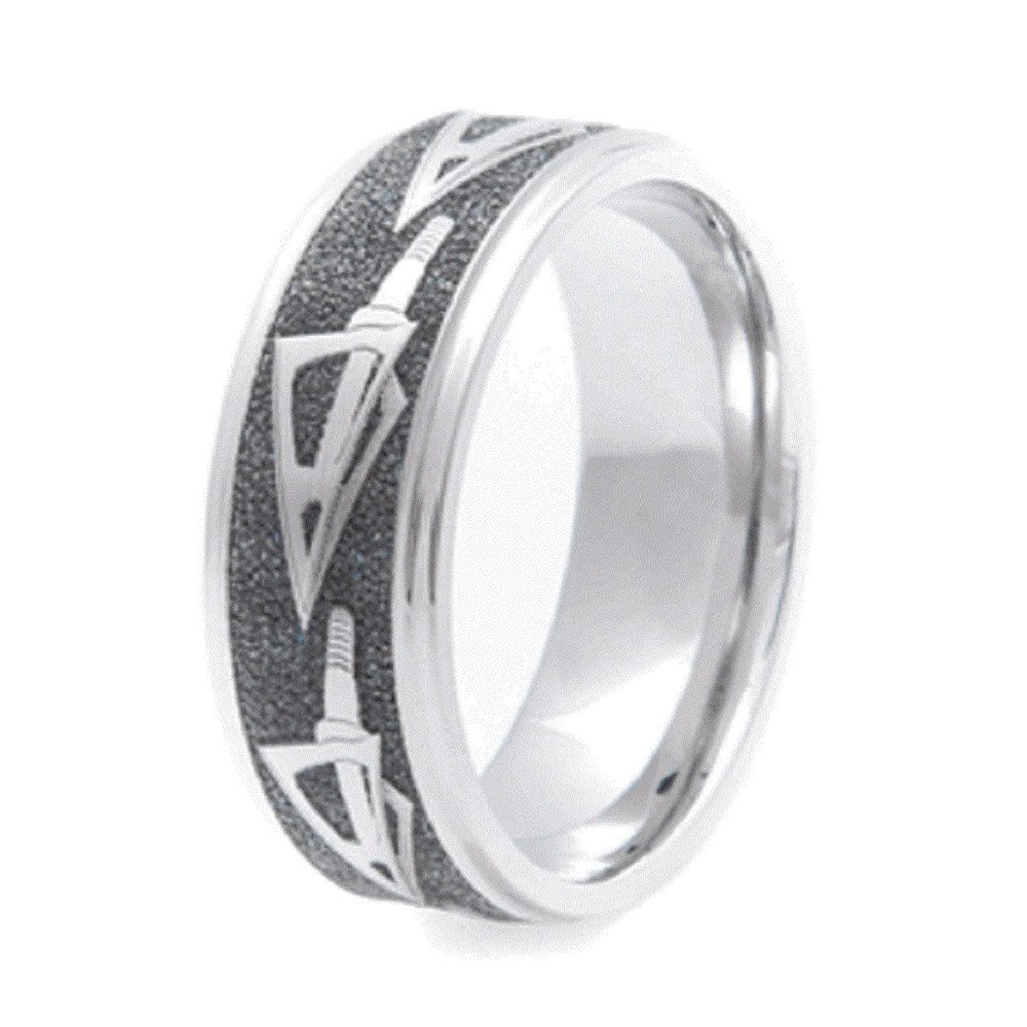 Mens Titanium Arrowhead Bow Hunters Dream Wedding Ring 8mm Wide