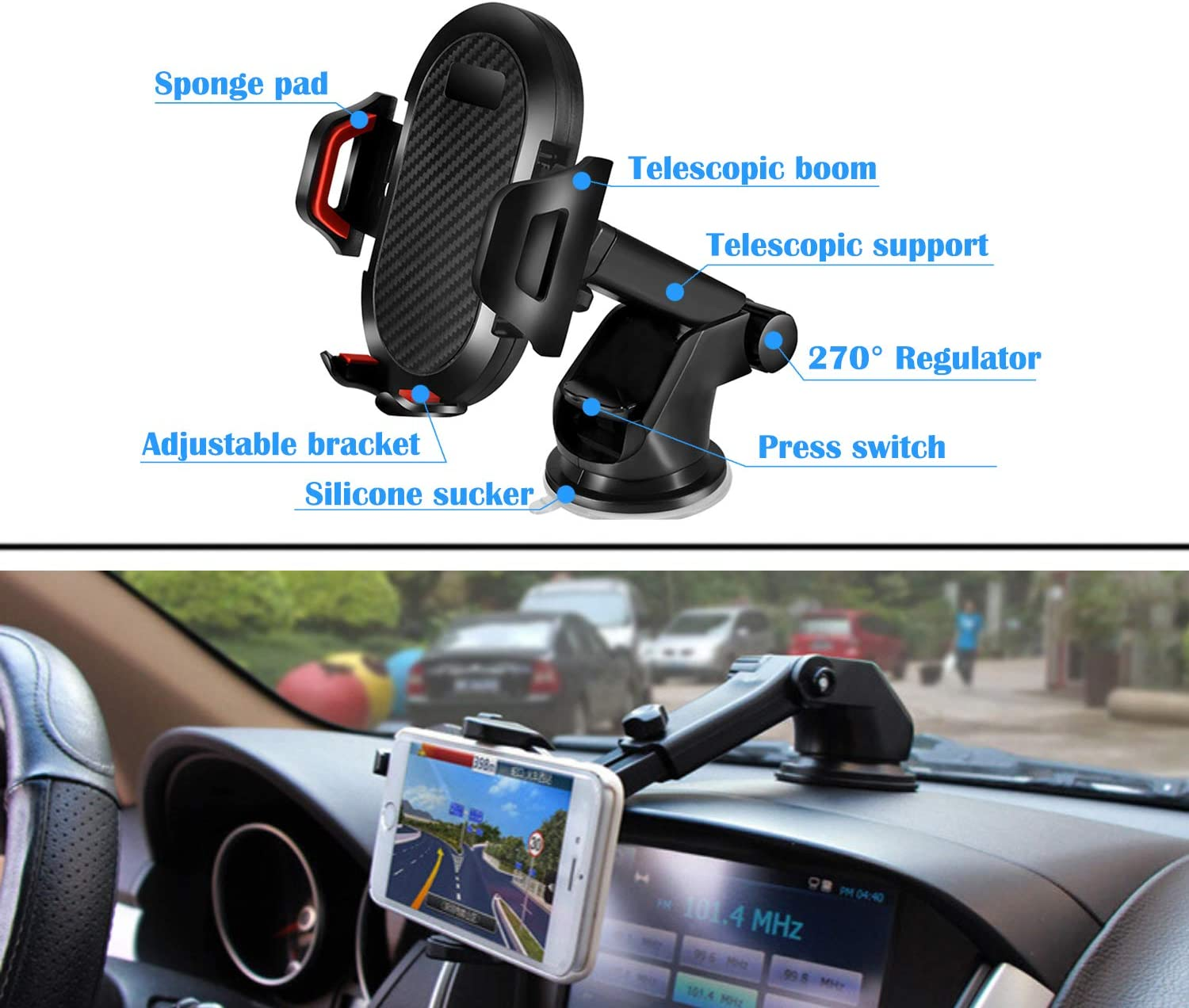 Huawei LG Universal Car Phone Mount Easy Clamp Moto Gray Nokia Dashboard Windshield Air Vent Cell Phone Holder Anti-Shake Strong Suction Universal Cradle Compatible for iPhone Samsung