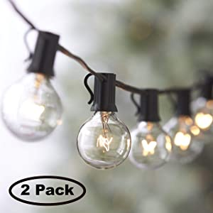 Lemontec String Lights,25FT Vintage Backyard Patio Lights with 25 Clear Globe Bulbs-UL listed for Indoor/Outdoor Use, Globe Wedding Light, Deckyard Tents Market Cafe Porch Party (2 Pack 50 Bulbs 50FT)