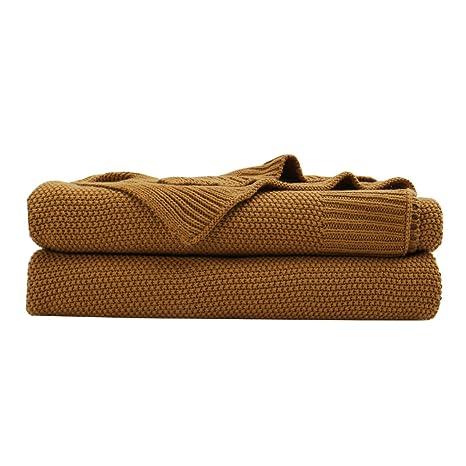 Amazon.com: PICCOCASA - Manta de punto de algodón 100 ...