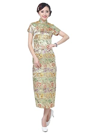 e744c37f5 AvaCostume Women's Chinese Silk Floral Qipao Button Long Cocktail Dress  Size US 0 Gold