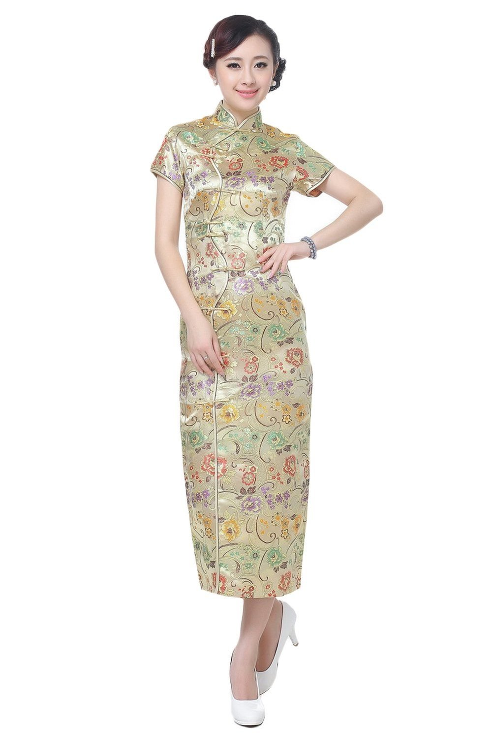 AvaCostume Women's Chinese Silk Floral Qipao Button Long Cocktail Dress Size US 6 Gold