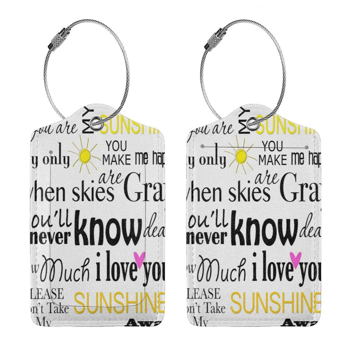 You Are My Sunshine Travel Luggage Tags With Full Privacy Cover Leather Case And Stainless Steel Loop