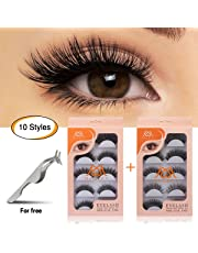 95a6002d67 MAGEFY 10 Pairs Fake Eyelashes Reusable 3D Handmade False Eyelashes Set for  Natural Look with False