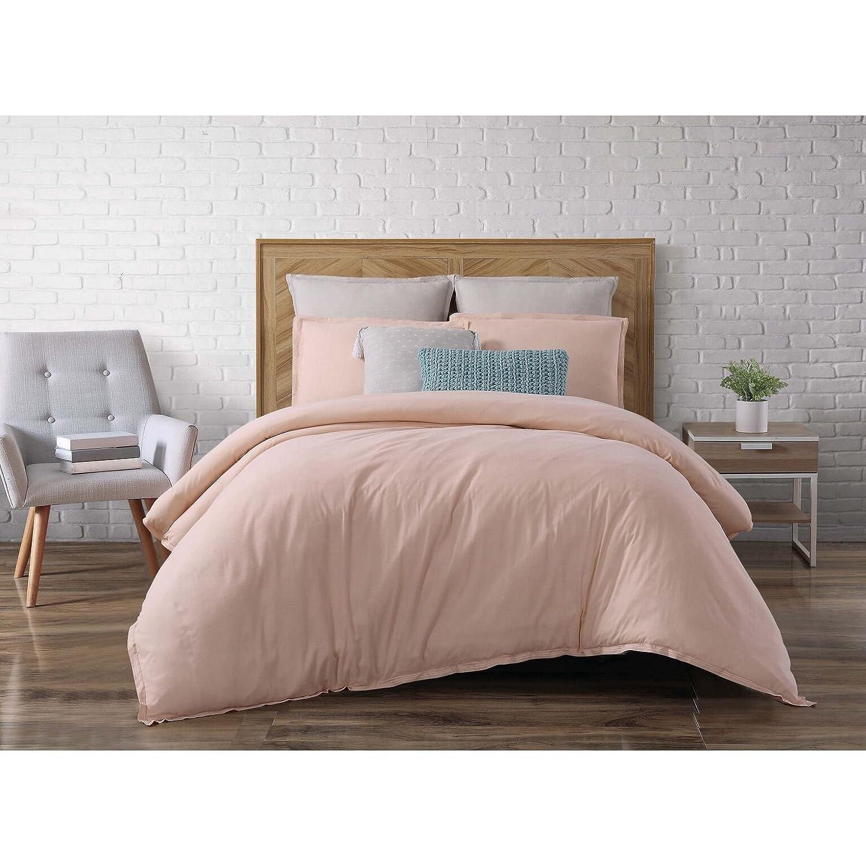 Brooklyn Loom Chambray Loft 3 Piece Comforter Set, Full/Queen, Blush