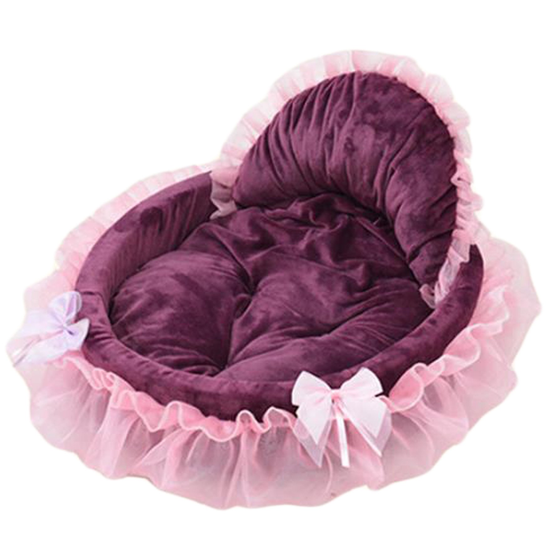 Saymequeen Coral Lace Princess Puppy Sofa Bed Cute Cat Cave Nest with Removable Warm Cushion (L, wine red)