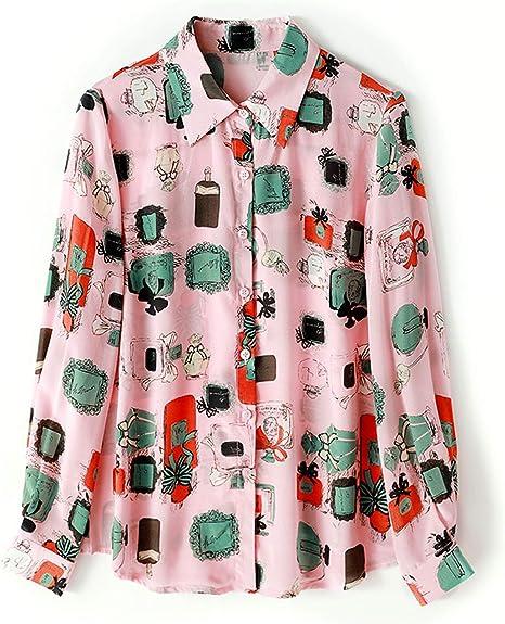 XCXDX Blusa Estampada Rosa para Mujer, Camisa De Manga Larga De Seda Vintage De Primavera, Top Ligero: Amazon.es: Deportes y aire libre