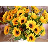 AmyHomie Artificial Sunflower Bouquet, 7Flowers per Bunch, 2 Bunches per Pack …