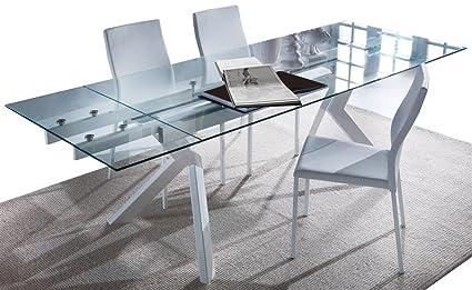 Tavolo da cucina allungabile in vetro Tokio - SG710: Amazon.it: Casa ...