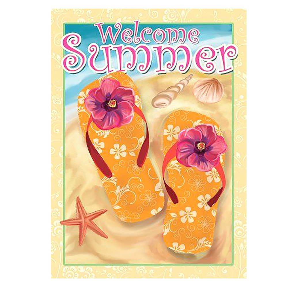 ALAZA Welcome Summer Flip Flop On Beach Double Sided House Flag Garden Banner 28'' x 40'', Tropical Flowers Flip Flop Shell Starfish Sea Garden Flags for Anniversary Yard Outdoor Decoration