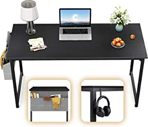 "CubiCubi Computer Desk 47"" Study Writing Table for Home Office, Modern Simple Style PC Desk, Black Metal Frame, Black"