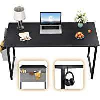 "CubiCubi Computer Desk 40"" Study Writing Table for Home Office, Modern Simple Style PC Desk, Black Metal Frame, Black"