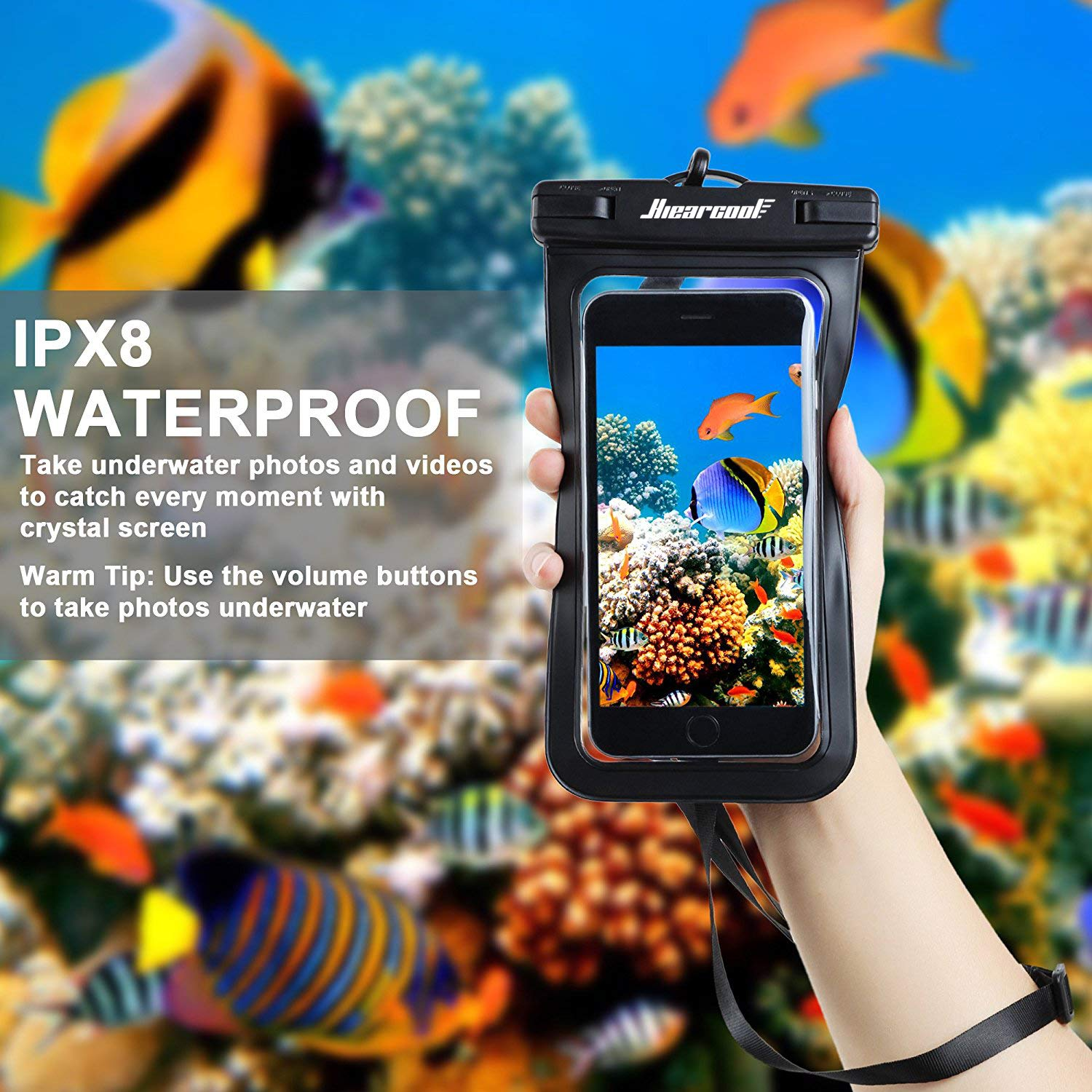 Universal Waterproof Case - Ansot IPX8 Waterproof Phone Pouch - Cellphone Dry Bag for iPhone X/8/ 8plus/7/7plus/6s/6/6s Plus Samsung Galaxy s8/s7 Google Pixel 2 HTC LG Sony Moto up to 7.0'' - 2 Pack by Hiearcool (Image #6)
