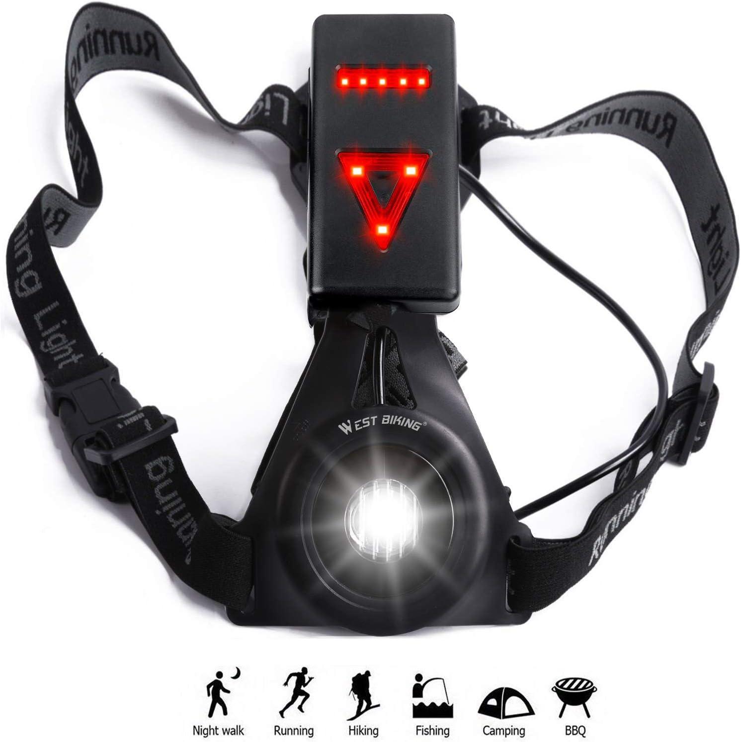 West Ciclismo USB Batería Pecho Running – Linterna LED con luz de ...