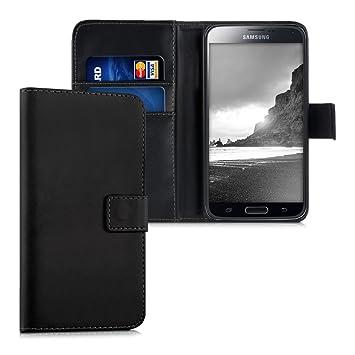 kwmobile Funda para Samsung Galaxy S5 / S5 Neo - Carcasa de Cuero sintético - Case con Tapa y Tarjetero en Negro