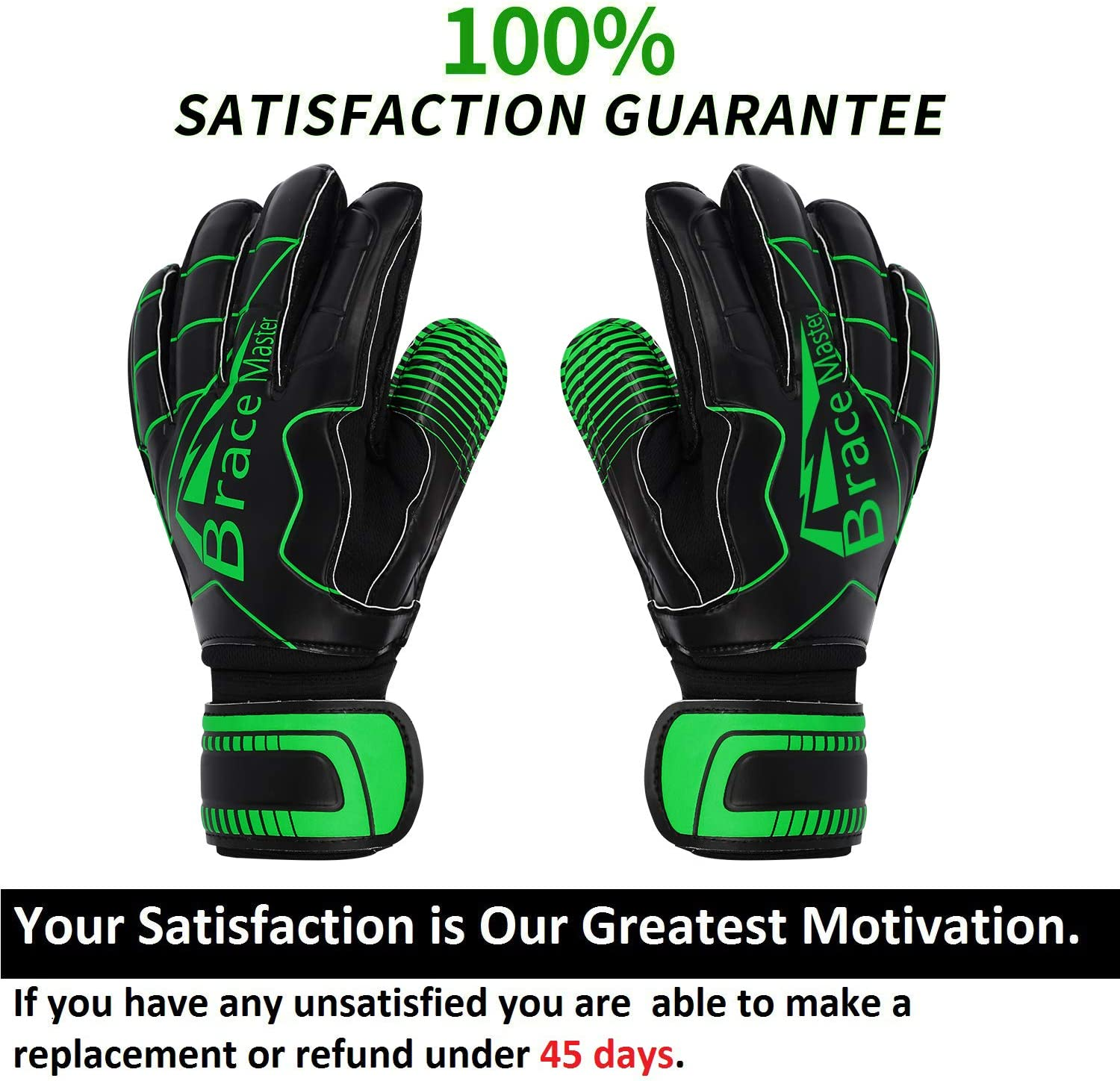 Brace Master Goalie Gloves (Sizes 7-10, 5 Styles), Double Wrist Design with Durable 3+3mm Strong Grip and Finger Spines Protection, Black Latex Goalkeeper Glove, Training and Match, Indoor and Outdoor : Sports & Outdoors