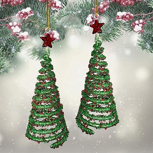 Glass Christmas Tree Glittery Design Decorations Set of 2