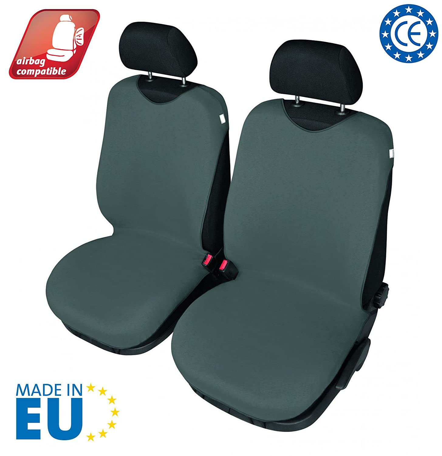 T-Shirt Car seat cover, universal 2-piece set for front Seats, Airbag compatible, Dark Grey 4CARS