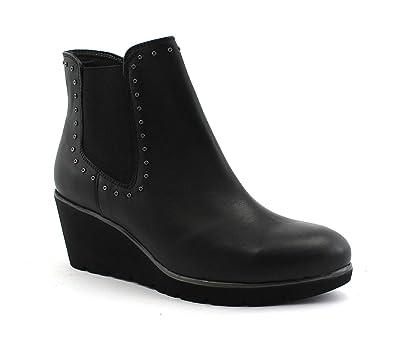 Keil Melluso Frauen Stiefeletten R45107 Schuhe Leder Schwarze Zip LzVpMGqUS