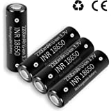 INR 18650 Rechargeable Battery Lithium Ion 2200mAh 3.7V Fast Charge Flat Top Portable House Hold Batteries for Flashlight Laptop,4 Packs Inside (Electronic)