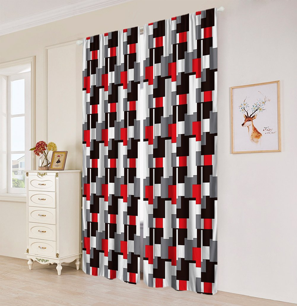 Plaid Bedroom Window Curtains, Black & White & Red & Gray,Living Room Bedroom Window Drapes 2 Panel Set - 108×84 Inches