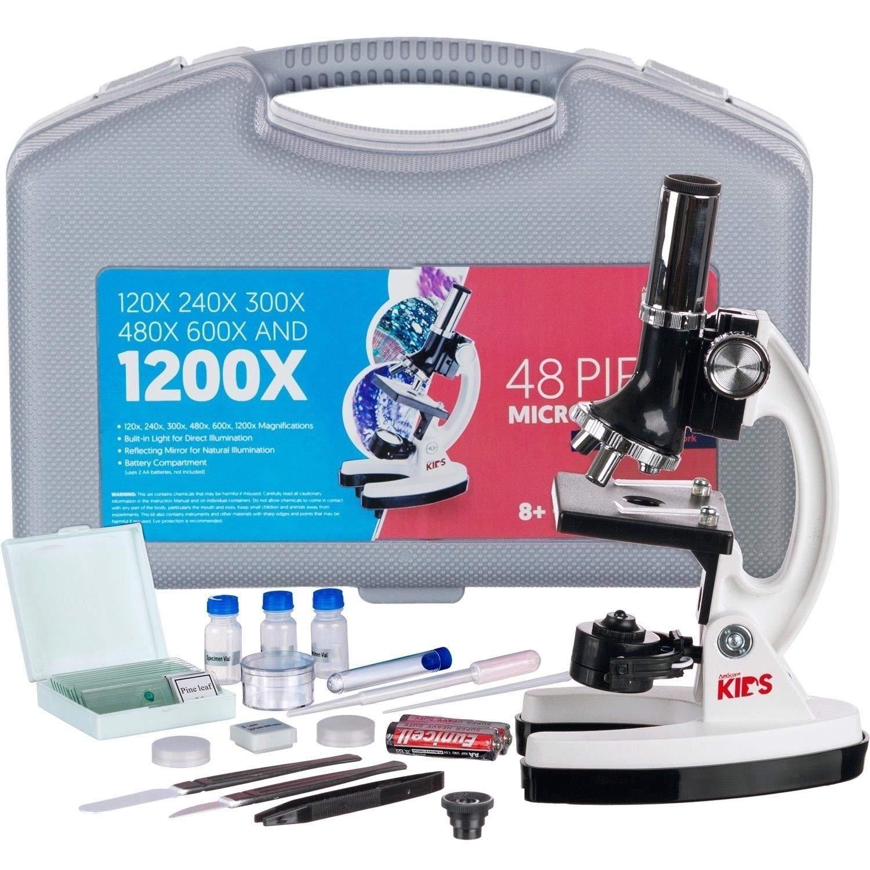 Alek...Shop Microscope Kit Educational Kids Science Lab Toy Led School Home Gift Set 48 Pcs Starter 120x-1200x Biological Beginner Learning Chemistry New Toys