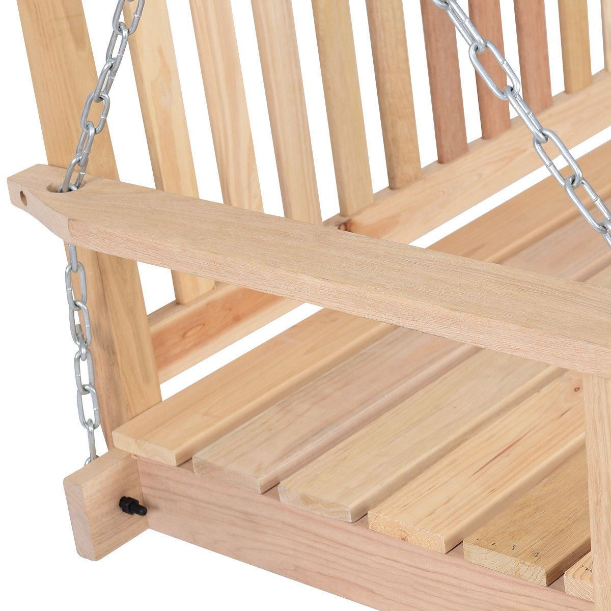 Giantex 4 FT Porch Swing with Chain Natural Wood Garden Swing Seat Patio Hanging Seat