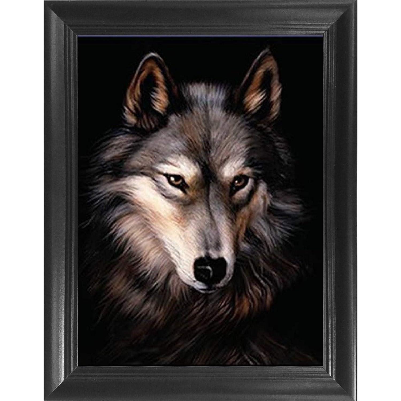 Wolf Portrait 3D Poster Wall Art Decor Framed Print