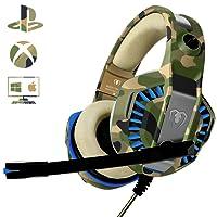 Cuffie Gaming per Xbox One PS4, Beexcellent Multi-Platform Bassi Profondi Over Ear Confortevole Cuffia con Microfono Isolamento Rumore di Controllo del Volume LED per PC, Mac, Laptop