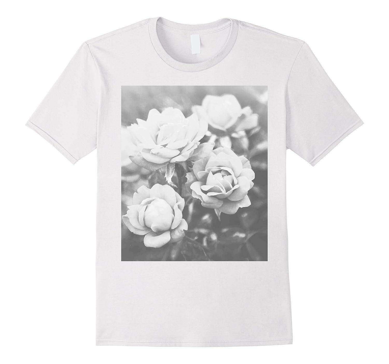 Vintage White Roses T-Shirt Rose Garden Tee-TJ
