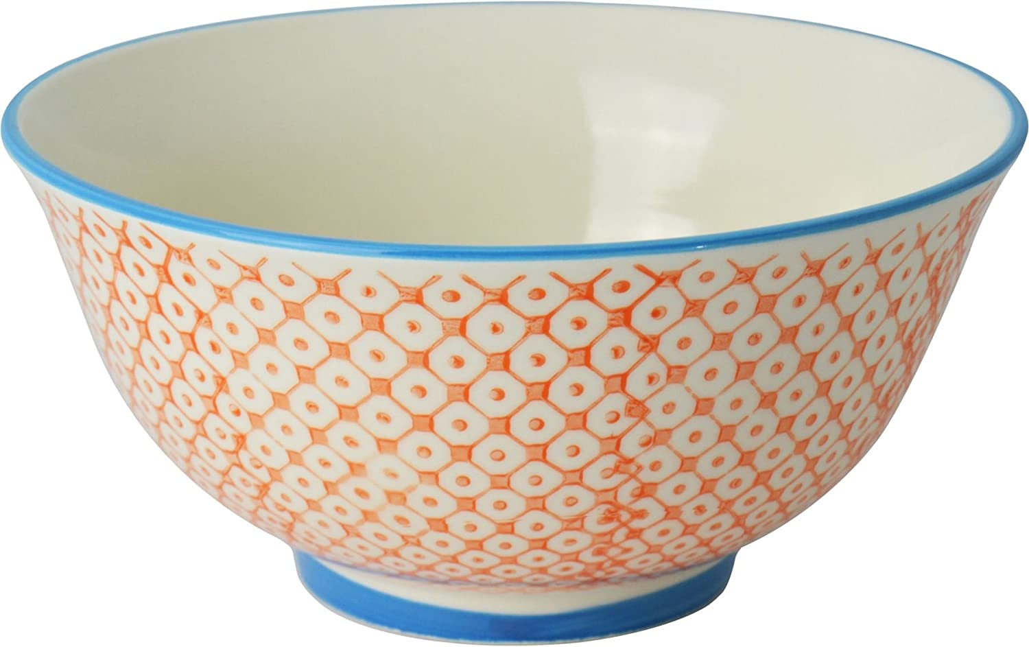 Nicola Spring Patterned Cereal Bowl - 152mm (6 Inches) - Orange / Blue Print Design