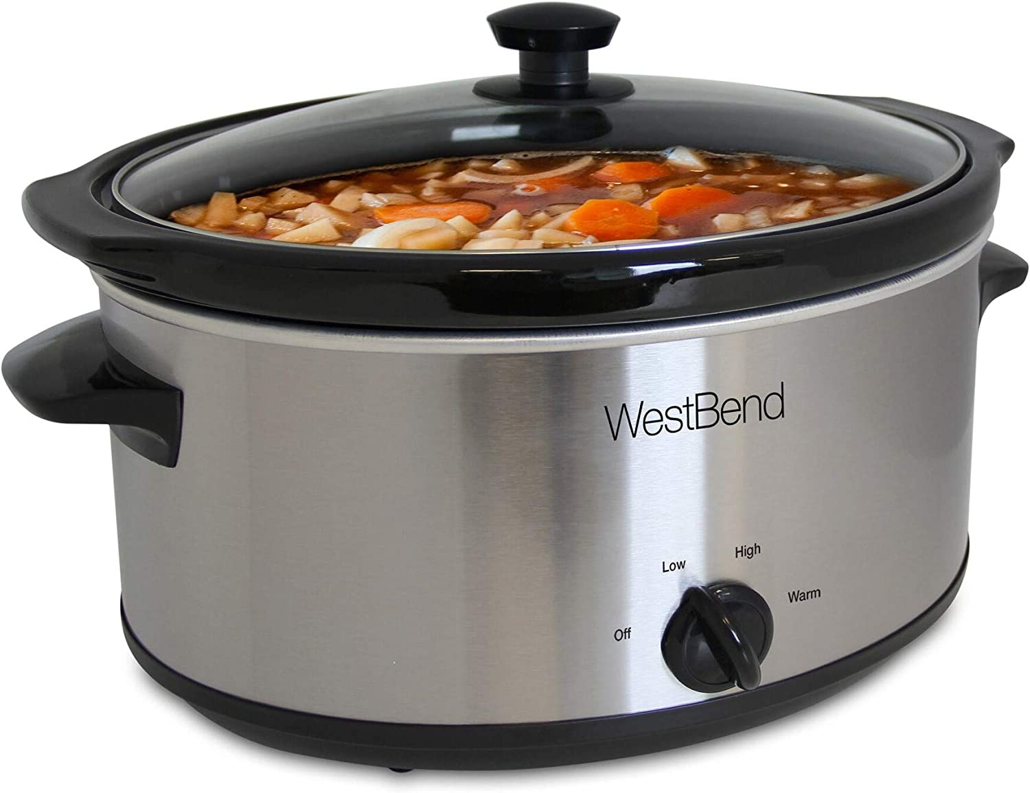 West Bend 87156 Oval Manual Slow Cooker with Ceramic Cooking Vessel and Glass Lid, 6-Quart, Silver