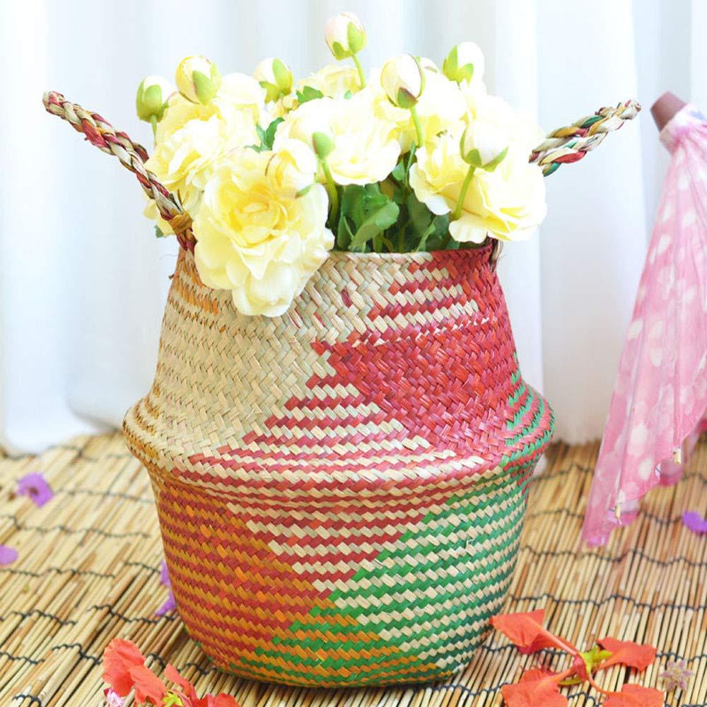 YJYdada Seagrass Wicker Basket Wicker Basket Flower Pot Folding Basket Dirty Basket (A)