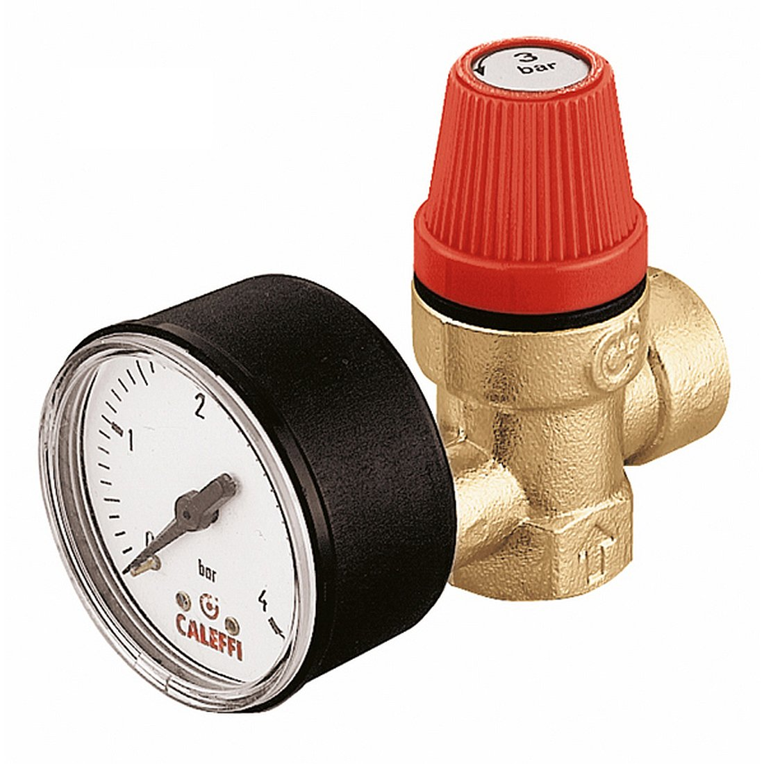 Caleffi Safety Relief Valve 1/2'' x 1/2'' Female Connections 6 Bar with Pressure Gauge 313460