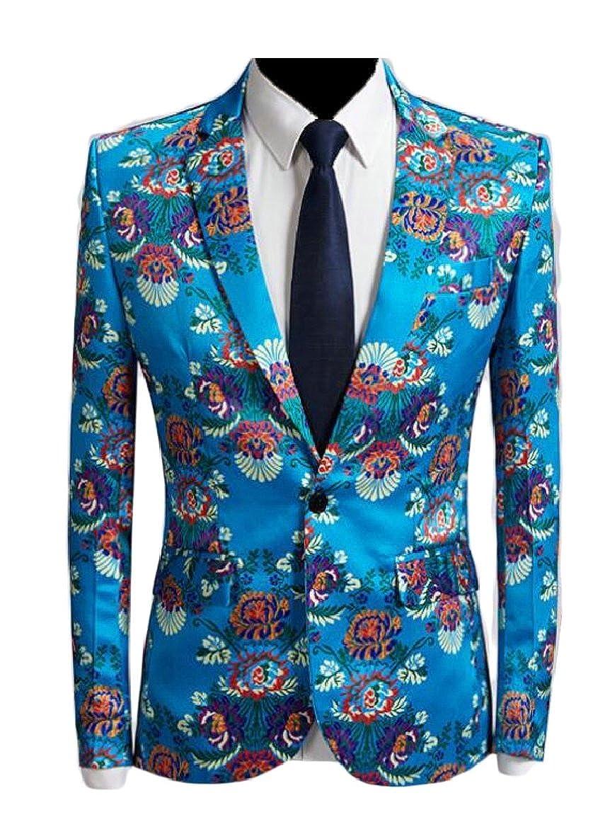 pujingge-CA Mens Fashion Floral Print One Button Suit Jacket Casual Blazer