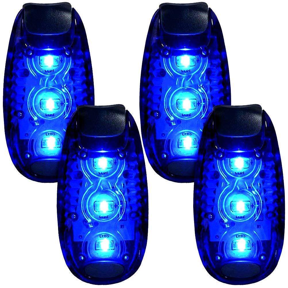 3 Modes LED Safety Lights 4 Packs Clip on Strobe Running Cycling Dog Collar Bike Tail Warning Light High Visibility Accessories for Reflective Gear (Blue)