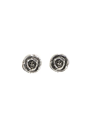 0fae48f2e MOMOCREATURA Women's Oxidised Sterling Silver Baby Skull In Rose Stud  Earrings: Amazon.co.uk: Jewellery