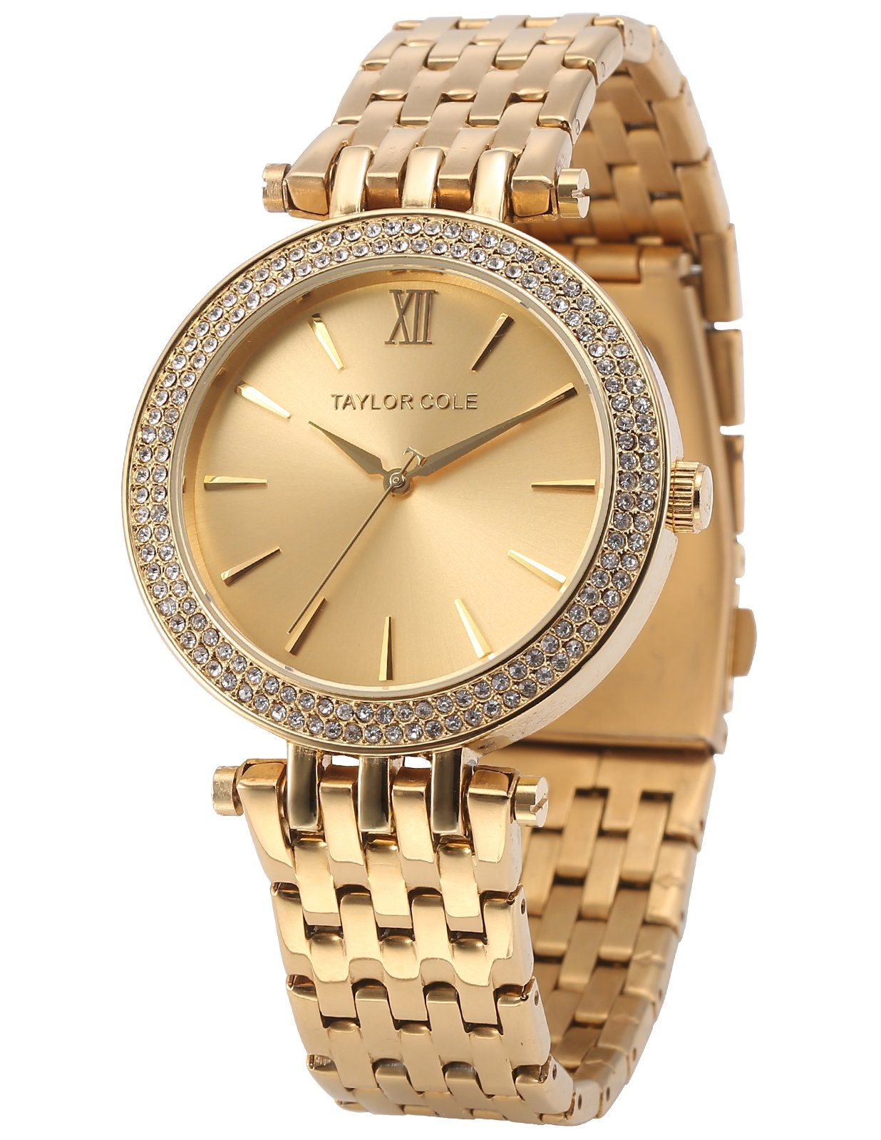 Women Simple Bling Bracelet Watch, Taylor Cole Aglaia Ladies' Elegant Gold Stainless Steel Band Simple Quartz Analog Dial Wrist Watch TC001, Holiday Gift for Women, Wedding
