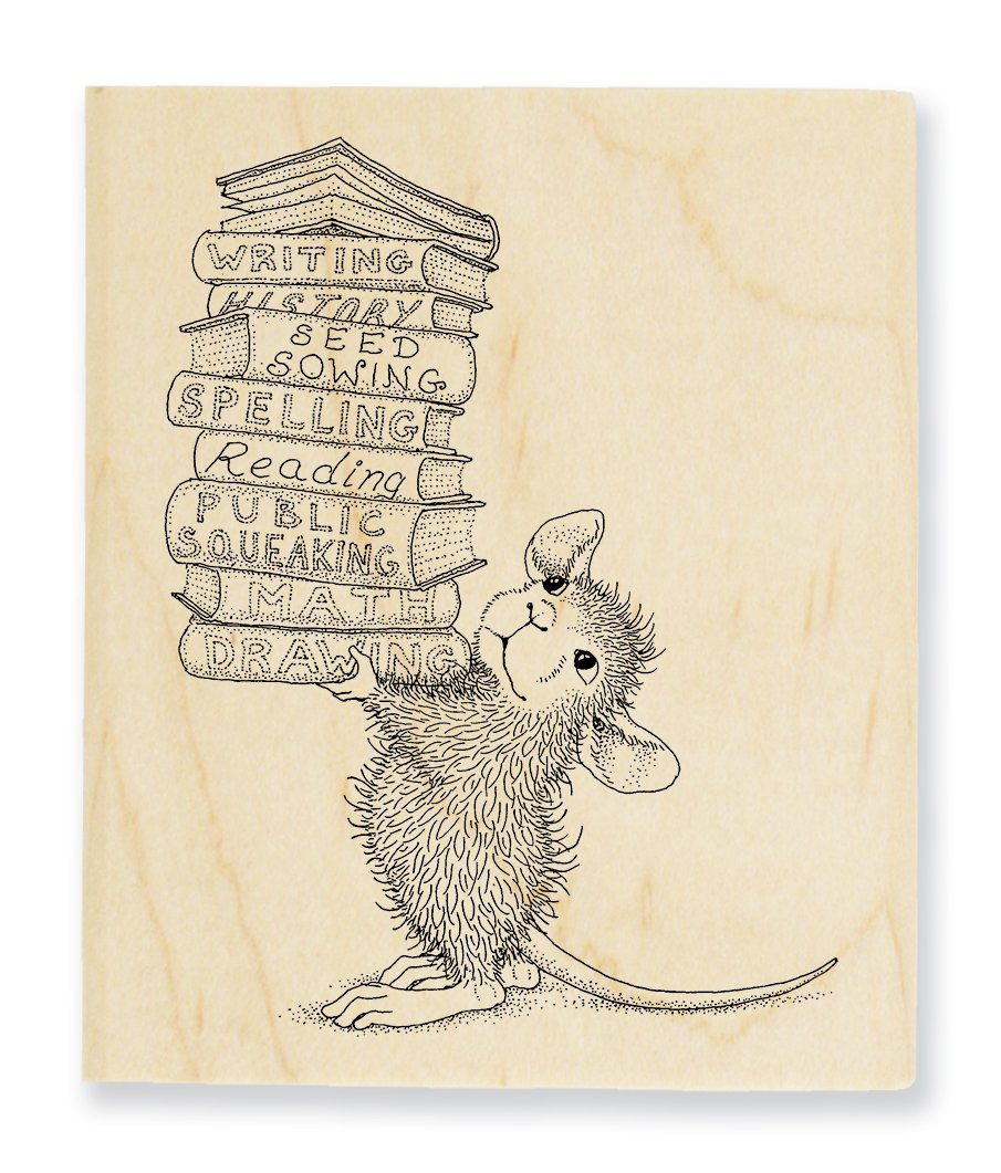 STAMPENDOUS Wooden Handle Rubber Stamp Stack of Books