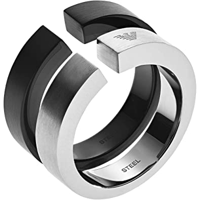 ac450e67b3 Emporio Armani Men Stainless Steel Plain Band Ring - EGS2539040-10 ...