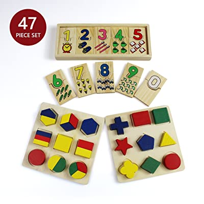 47 Piece Wooden Toddler Toy Gift Set - Includes 1,2,3 Puzzle and Color and Shape Puzzle by Bab's Babies