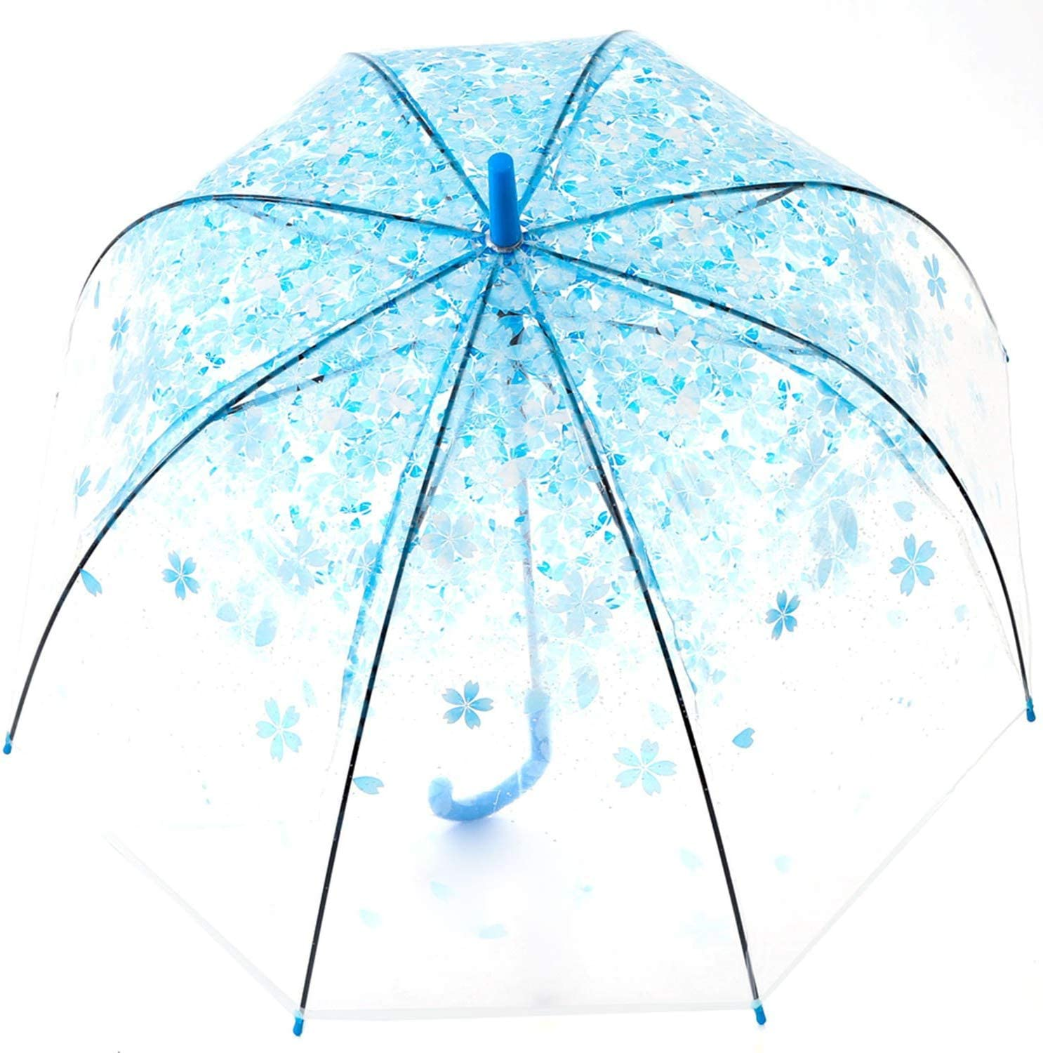 Travel Camping Windproof and Rainproof Half Automatic /& J-Handle Perfect for Women Kids Fashion Cherry Blossom Pattern Transparent Umbrella