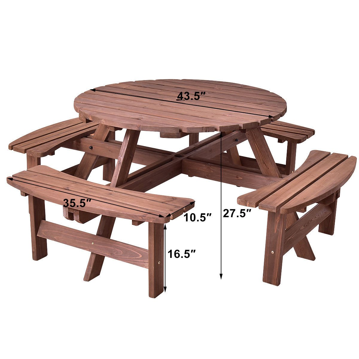 Giantex 8 Person Wooden Picnic Table Set with Wood Bench, with Umbrella Hold Design, Perfect for Outdoor Garden Yard Pub Beer Dining, Dark Brown