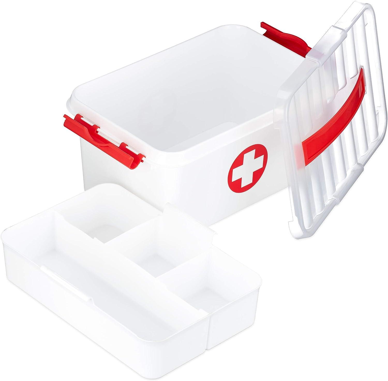 Relaxdays, Blanco, 21 x 30 x 14,5 cm Caja Medicamentos para Botiquín de Primeros Auxilios, Plástico: Amazon.es: Hogar