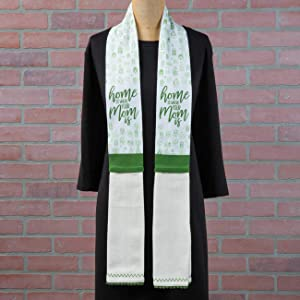 Brownlow Gifts 100% Cotton Kitchen Towel Scarf, 4 x 70-Inches, Home is Where Mom Is