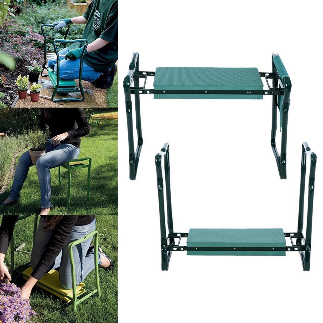 Amashion Garden Kneeler Seat with Handles Foam Padding, Heavy Duty Folding Gardening Kneeler with Storage Tool Pouch,250 Lbs (Green)