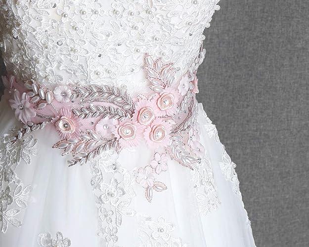 4dac3c7eaa3e7 Amazon.com: Bridal sash, Pink flower sash belt, Wedding dress sash, Blush  pink flower sash, Rhinestone pearl pink flower belt, Ribbon sash: Handmade