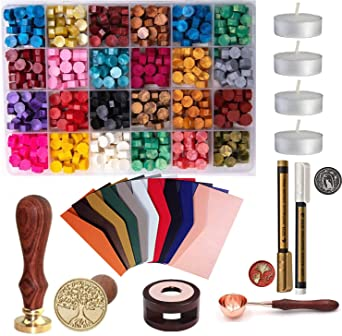 Copper Greeting Cards Envelopes Octagonal Vintage Retro Sealing Wax Bead for Wedding Invitations 100pcs Wax Seal Beads Wine Packages