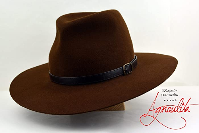 5dbf1ad6361a7 Amazon.com  The Explorer - Rabbit Fur Felt Handmade Fedora Hat - Wide Brim  - Men Women  Handmade